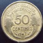 Photo numismatique  Monnaies Monnaies Françaises Gouvernement Provisoire 50 Centimes 50 centimes Morlon 1947, G.423b B à TB Rare!R