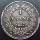 Photo numismatique  Monnaies Monnaies Françaises Louis Philippe 1 Franc LOUIS PHILIPPE, 1 franc 1837 B Rouen, G.453 SUPERBE Belle patine médailler!