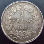 Photo numismatique  Monnaies Monnaies Françaises Louis Philippe 1 Franc LOUIS PHILIPPE, 1 franc 1847 A Paris, G.453 SUPERBE+