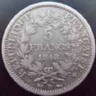 Photo numismatique  Monnaies Monnaies Françaises Deuxième République 5 Francs 5 francs Hercule 1848 D Lyon, G.683 coup sur tranche, TB+ Rare!