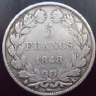 Photo numismatique  Monnaies Monnaies Françaises Louis Philippe 5 Francs LOUIS PHILIPPE, 5 francs 1848 K Bordeaux, G.678a légères traces de nettoyage sinon TTB Rare!!