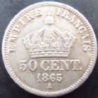Photo numismatique  Monnaies Monnaies Françaises Second Empire 50 Centimes NAPOLEON III, 50 centimes 1865 A, G.417 TTB à SUPERBE