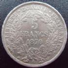 Photo numismatique  Monnaies Monnaies Françaises Défense nationale 5 Francs 5 francs Cérès 1870 A, G.743 TTB