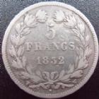 Photo numismatique  Monnaies Monnaies Françaises Louis Philippe 5 Francs LOUIS PHILIPPE, 5 francs 1832 W Lille, G.678 B à TB