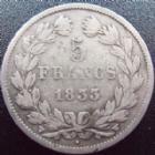 Photo numismatique  Monnaies Monnaies Françaises Louis Philippe 5 Francs LOUIS PHILIPPE, 5 francs 1833 W Lille, G.678 TB