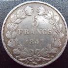 Photo numismatique  Monnaies Monnaies Françaises Louis Philippe 5 Francs LOUIS PHILIPPE, 5 francs 1847 A, G.678 a Presque TTB
