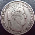 Photo numismatique  Monnaies Monnaies Françaises Louis Philippe 5 Francs LOUIS PHILIPPE, 5 francs 1837 B Rouen, G.678 TB+