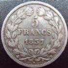 Photo numismatique  Monnaies Monnaies Fran�aises Louis Philippe 5 Francs LOUIS PHILIPPE, 5 francs 1837 B Rouen, G.678 TB+