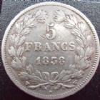 Photo numismatique  Monnaies Monnaies Françaises Louis Philippe 5 Francs LOUIS PHILIPPE, 5 francs 1838 W Lille, G.678 TB à TTB