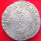 Photo numismatique  Monnaies Monnaies Royales Henri III Demi Franc au col plat HENRI III, 1/2 franc au col plat 1577 B Rouen, point 15 eme sph�re, type sans cordelette, DY.1131 Var. TTB Rare!