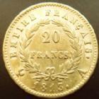 Photo numismatique  Monnaies Monnaies Française en or 1er Empire 20 Francs or NAPOLEON I er, 20 francs or 1813 A, OR 900°/°°, G.1025 Bon TTB