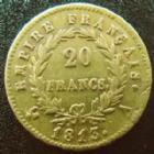Photo numismatique  Monnaies Monnaies Française en or 1er Empire 20 Francs or NAPOLEON Ier, 20 francs or 1813 A, OR 900°/°°, G.1025 pts coups TB à TTB