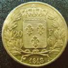 Photo numismatique  Monnaies Monnaies Française en or Louis XVIII 20 Francs or LOUIS XVIII, 20 francs or 1818 A, OR 900°/°°, G.1028 TB à TTB