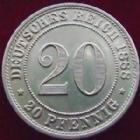 Photo numismatique  Monnaies Allemagne après 1871 Allemagne, Deutschland, Empire, Kaisereich 20 Pfennig Allemagne, Deutschland, Kaisereich, Empire, 20 pfennig 1888 A, J.6 SUPERBE