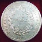 Photo numismatique  Monnaies Monnaies Fran�aises Cinqui�me r�publique 50 Francs avers du 20 Francs 50 francs Hercule 1974 vari�t� avers de la 20 francs, G.882a SUPERBE+