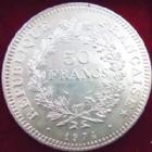 Photo numismatique  Monnaies Monnaies Fran�aises Cinqui�me r�publique 50 Francs avers du 20 Francs 50 francs Hercule 1974 vari�t� avers de la 20 francs, G.882a SUPERBE