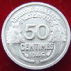 Photo numismatique  Monnaies Monnaies Françaises Gouvernement Provisoire 50 Centimes 50 centimes Morlon 1946 B, G.426a SUPERBE