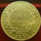 Photo numismatique  Monnaies Monnaies Française en or Consulat 40 Francs or Bonaparte premier Consul, 40 francs or AN XI A, OR 900°/°°, G.1080 TB à TTB