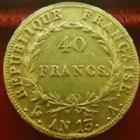 Photo numismatique  Monnaies Monnaies Française en or 1er Empire 40 Francs or NAPOLEON Ier, 40 francs or AN 13 A, OR 900°/°°, G.1081 presque TTB/TTB