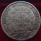 Photo numismatique  Monnaies Monnaies Françaises Deuxième République 5 Francs 5 francs Cérès 1851 A, G.719 Bon TTB