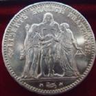 Photo numismatique  Monnaies Monnaies Françaises Troisième République 5 Francs 5 francs Hercule 1876 A, G.745a légèrement lustrée sinon TTB+