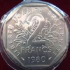 Photo numismatique  Monnaies Monnaies Françaises Cinquième république 2 Francs 2 Francs Semeuse de Roty 1980, G.547 FDC