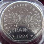 Photo numismatique  Monnaies Monnaies Françaises Cinquième république 2 Francs 2 Francs Semeuse de Roty 1994 Abeille, G.547 FDC (BU)