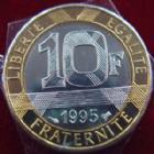Photo numismatique  Monnaies Monnaies Françaises Cinquième république 10 Francs Genie 10 Francs Genie 1995, G.827 BU (brillant universel)