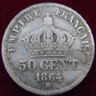 Photo numismatique  Monnaies Monnaies Françaises Second Empire 50 Centimes NAPOLEON III, 50 centimes 1864 BB Strasbourg, G.417 traces de nettoyage sinon TB à TTB