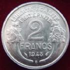 Photo numismatique  Monnaies Monnaies Françaises 4ème république 2 Francs 2 Francs Morlon 1948 B Aluminium, G.538b TTB+