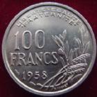 Photo numismatique  Monnaies Monnaies Françaises 4ème république 100 Francs 100 Francs Cochet 1958, G.897 petites tâches à l'avers sinon SUPERBE