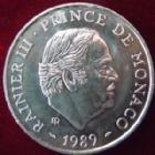 Photo numismatique  Monnaies Monnaies étrangères Monaco 100 Francs MONACO, 100 francs argent 1989, Rainier III, G.164 SUPERBE