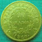 Photo numismatique  Monnaies Monnaies Française en or 1er Empire 20 Francs or NAPOLEON Ier, 20 francs or 1810 A variété petit coq, or 900°/°° 6,45 grms, G.1025 TTB R!