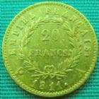 Photo numismatique  Monnaies Monnaies Française en or 1er Empire 20 Francs or NAPOLEON Ier, 20 francs or 1811 A, OR 900°/°° 6,45 grms, G.1025 TTB