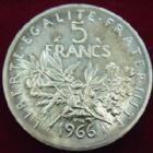 Photo numismatique  Monnaies Monnaies Fran�aises Cinqui�me r�publique 5 Francs 5 francs argent Semeuse 1966, G.770 FDC