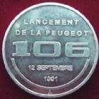 Photo numismatique  Monnaies Jetons Automobile, constructeur Jeton aluminium Peugeot, lancement de la 106, 1991, jeton en aluminium, 30 mm, SUPERBE