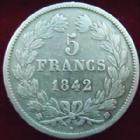 Photo numismatique  Monnaies Monnaies Fran�aises Louis Philippe 5 Francs LOUIS PHILIPPE, 5 francs 1842 BB Strasbourg, G.678 TB+