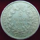 Photo numismatique  Monnaies Monnaies Françaises Troisième République 5 Francs 5 francs Hercule 1875 petit A, G.745a TB à TTB
