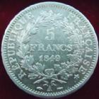 Photo numismatique  Monnaies Monnaies Fran�aises Deuxi�me R�publique 5 Francs 5 francs Hercule 1849 A Main-Chien, G.719 TB � TTB