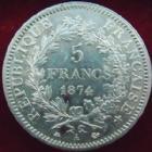 Photo numismatique  Monnaies Monnaies Françaises Troisième République 5 Francs 5 Francs Hercule 1874 A, G.745a Coups sur tranche sinon TTB+