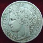 Photo numismatique  Monnaies Monnaies Françaises Deuxième République 5 Francs 5 Francs Cérès 1849 A, G.719 TB à TTB