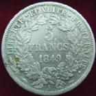 Photo numismatique  Monnaies Monnaies Fran�aises Deuxi�me R�publique 5 Francs 5 Francs C�r�s 1849 A, G.719 TB � TTB