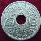 Photo numismatique  Monnaies Monnaies Françaises Troisième République 25 centimes Lindauer 25 Centimes Lindauer 1914 souligné, G.379 SUPERBE