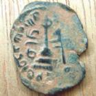 Photo numismatique  Monnaies Monnaies de l'Islam Arabo-Bysanthine Fals, Ae Arabo-Bysanthine, Abd Al Malik, Alep en AH.65-86- 685-705, Fals, 2,73 grms, Alb.3532 var. TB+