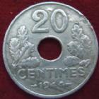 Photo numismatique  Monnaies Monnaies Françaises Etat Français 20 Centimes 20 Centimes zinc 1944, G.321 Nettoyée sinon TTB R!