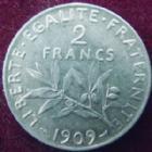 Photo numismatique  Monnaies Monnaies Françaises Troisième République 2 Francs 2 francs Semeuse de Roty 1909, G.532 TTB à SUPERBE