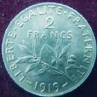Photo numismatique  Monnaies Monnaies Françaises Troisième République 2 Francs 2 francs Semeuse de Roty 1919, G.532 SUPERBE+