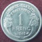 Photo numismatique  Monnaies Monnaies Françaises Gouvernement Provisoire 1 Franc 1 Franc Morlon aluminium 1945, G.426a SUPERBE+