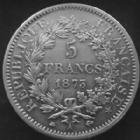 Photo numismatique  Monnaies Monnaies Françaises Troisième République 5 Francs 5 francs Hercule 1873 A, G.745a Coup sur tarnche sinon Bon TTB