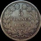 Photo numismatique  Monnaies Monnaies Fran�aises Louis Philippe 5 Francs LOUIS PHILIPPE Ier, 5 francs 1839 A Paris, G.678 P.SUPERBE